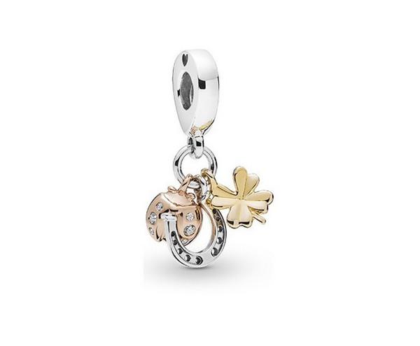 Wholesale 30pcs Rose Gold Ladybug & Four Leaf Clover Dangle DIY Silver Charms Beads fit European Pandora Charm Bracelet & Necklace Jewelry