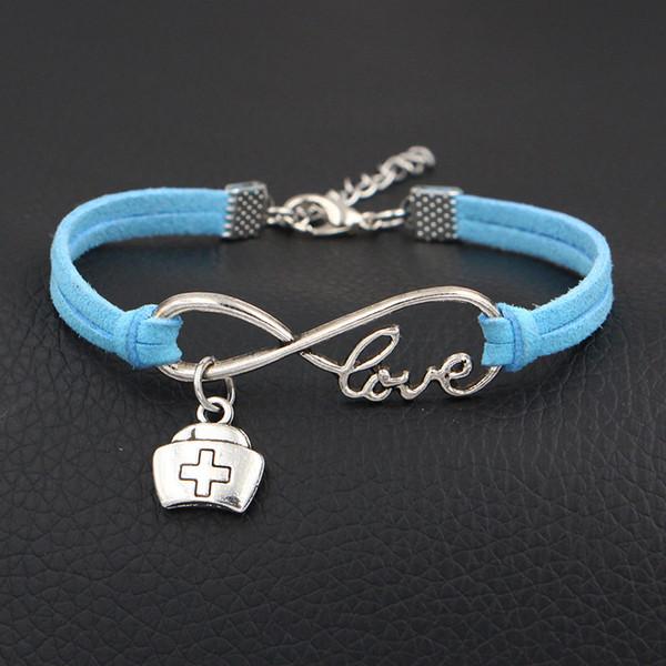 Handmade Trendy Vintage Female Femme Homme Male Punk Infinity Love Medicine Box Cross Charm Blue Leather Rope Bracelet For Women Men Jewelry