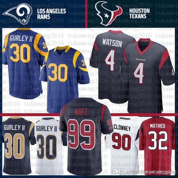 big sale ee115 1ac20 2019 Houston 10 DeAndre Hopkins Texans 4 Deshaun Watson St.Louis Rams  Jersey 30 Todd Gurley 99 J.J. Watt 90 Jadeveon Clowney 32 Tyrann Mathieu  From ...
