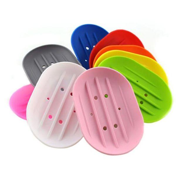 Jaboneras de silicona Jabonera antideslizante flexible Bandeja de placa Fugas a prueba de moho Boutique Jabonera Accesorios de baño NT
