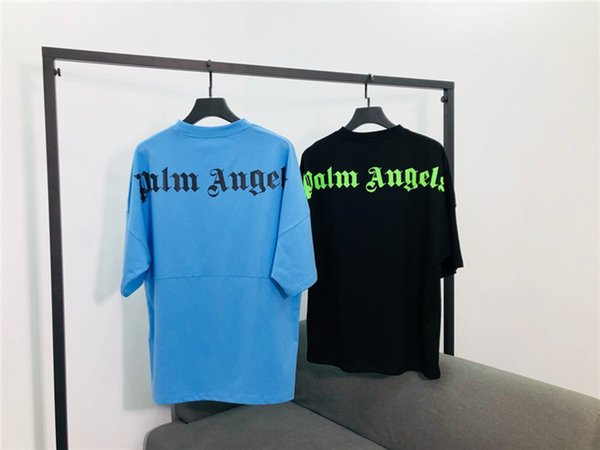 19ss lujoso diseño de marca palm angels PA letras traseras imprimir camiseta hombres mujeres moda transpirable streetwear camisetas al aire libre