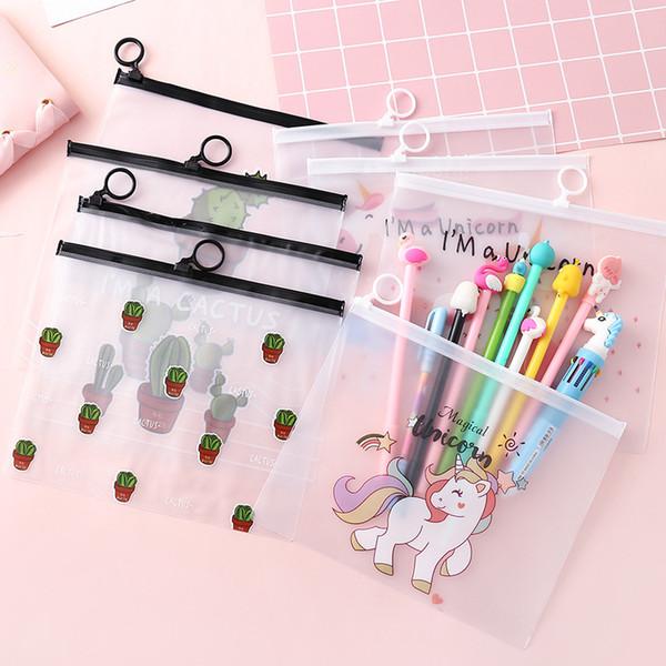 Cute Pink Leopard Unicorn Transparent Travel Cosmetic Bag MakeUp Pen Case Student File Bags Toiletry Brush Pencil Storageb Pouch