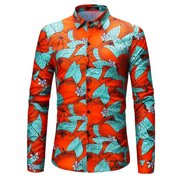 2019 Men Printed Long Sleeve Shirts Business Wear 4xl Man Full Shirts Male Dress Shirt Spring Autumn Mens Slim Shirts