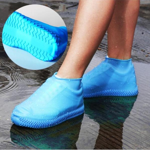 Silikon Jel Ayakkabı Kapak Su Geçirmez Yağmur Ayakkabı Kapakları Kullanımlık Kauçuk Esneklik Galoş Unisex kaymaz Aşınmaya Dayanıklı Geri Dönüşümlü LXL256