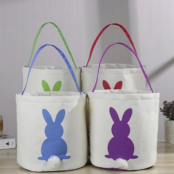 Lapin panier Lapin de Pâques Sacs de lapin imprimé sac fourre-tout en toile paniers d'oeufs Candies Party Favor 4 styles RRA2594