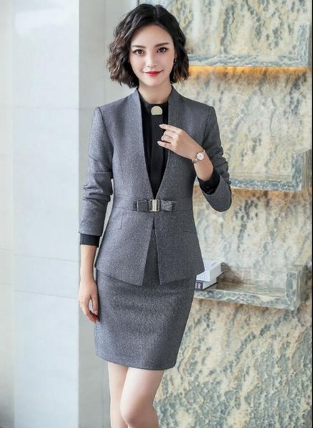 grey skirt suits