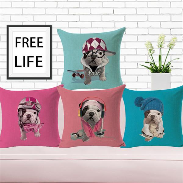 1 pcs Taie d'oreiller impression personnalisée chiens mignons housse de coussin décoration taie d'oreiller livraison gratuite