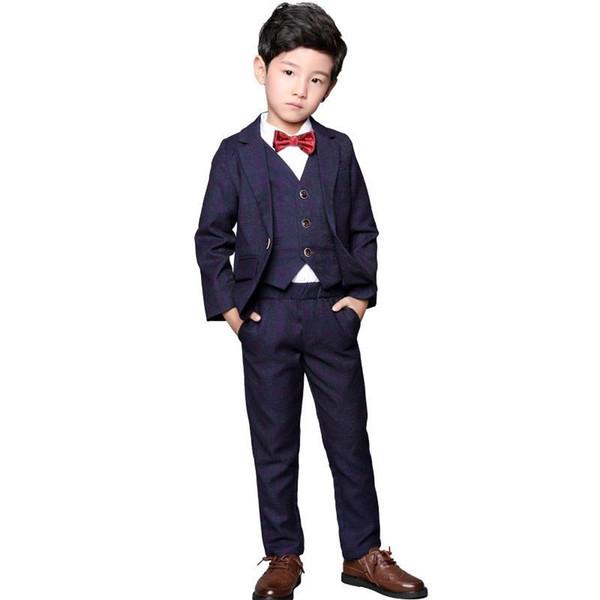 Nuevo traje de los niños para la fiesta de piano de la boda Chicos adolescentes Blazer + Chaleco + pantalón + camisa 3 / 4Pcs Baby Boy trajes trajes formales conjuntos Y170