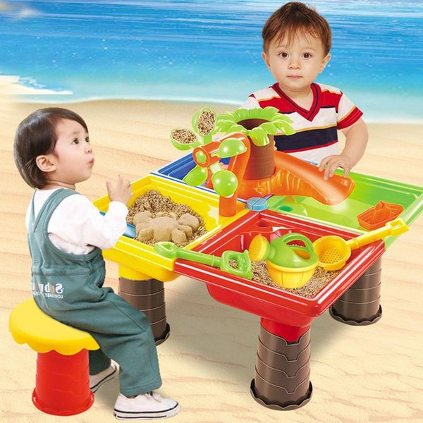 Kids Sand Pit Set Beach Sandpit Table Water Outdoor Garden Play Spade Tool Toy