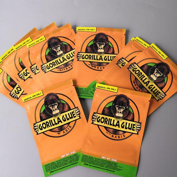 best selling GORILLA GLUE BAG 3.5g Smell Proof Bags Vape Packaging for Dry Herb GORILLA GLUE mylar Zipper bag DHL Free