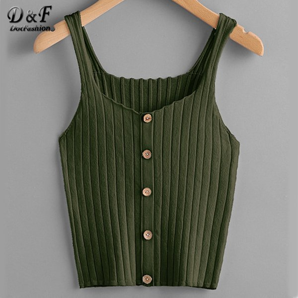 Dotfashion Ladies Button Up Rib Knit Plain Top 2019 New Arrival Scoop Neck Vacation Vest Women Autumn Skinny Casual Camisole Q190426