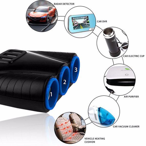 El más nuevo Universal 12V / 24V 120W 3 Puertos encendedor de cigarrillos encendedor Splitter Con 3 USB Cargador de coche Cargador de teléfono móvil para Iphone Samung Huawei