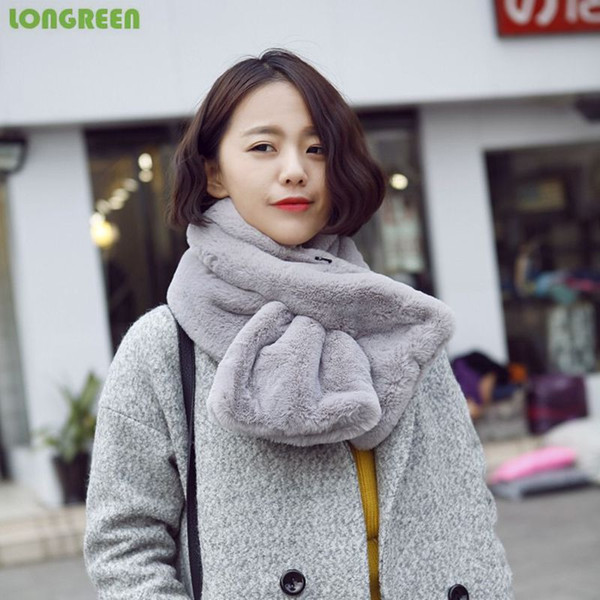 Top Grade Fashion Autumn Winter Scarf Imitation Rabbit Hair Neck Warmer Pure Color Soft for Ladies Girl