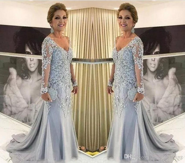 Elegant Long Sleeves Mother of the Bride Dresses New V Neck Formal Groom Godmother Evening Wedding Party Guests Gown Plus Size Custom Made