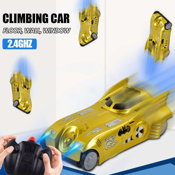 2.4GHZ RC Wall Climbing Stunt Car Remote Control Glass Wall Floor Racing Car Electric Car Toys with Head LED Lights for Kid Gift