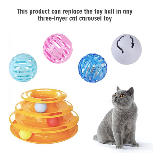 3pcs/set Small Cat Pet Sound Toy Scratcher Cat Toys Hollow Out Round Colorful Playing Ball Toys Interactive Light Products