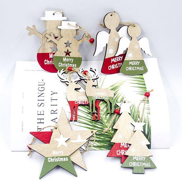 Рождественская елка украшения из дерева Чип Снеговик дерево Олень носки висит кулон Санта украшения Xmas подарка С Рождеством