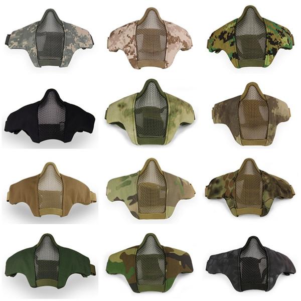 Célèbre Airsoft Tactique PDW Demi Visage Masque En Métal Crâne De Protection Armée Wargame Chasse Accessoires Paintball Masques