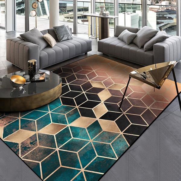 best selling Fashion Geometric Gradient Area Carpet Nordic Gradual Shading Green Golden Diamonds Print Non-Slip Rugs Decor Door Parlor Bedside Floor Mats