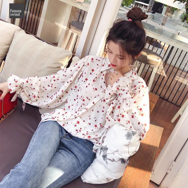 2019 donne camicette di modo Mx17d4547 chiffon casuale delle parti superiori floreali manica lunga epoca camicetta signore coreano Mishow