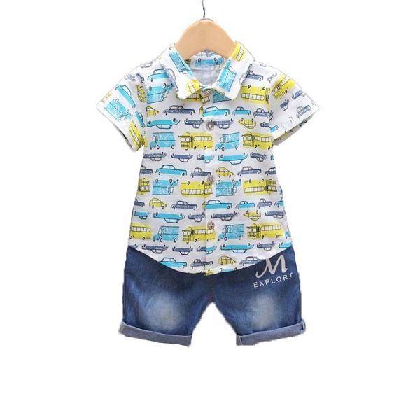 BibiCola Baby Boy Clothes Summer Newborn Baby Boys Clothing Set Children Cartoon Car T-shirt+ Short Pants 2PCS Sport Suit