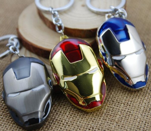 Metal Marvel Avengers Captain Simple Spider-Man Cutout Keychain Toys Spider Iron Man Dark knight mask model Pendent toy