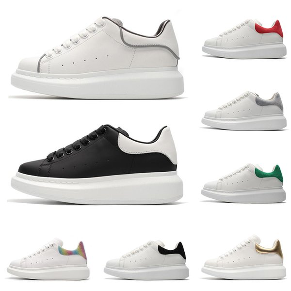 Designer Luxury white black leather casual shoes 3M reflective for girl womens men pink gold red fashion comfortable flat sneakers Brand