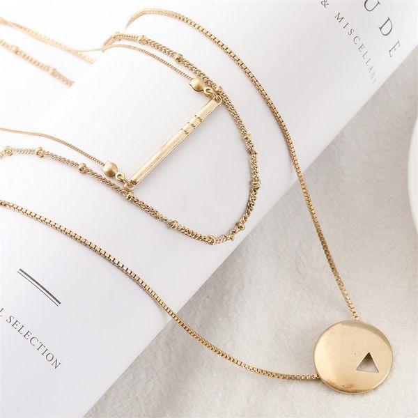 Мода Сплав Трехрядный Цепочка Геометрическая Подвеска Многорядный Ожерелье Геометрические Круглые Чокеры Аксессуары Для Женщин