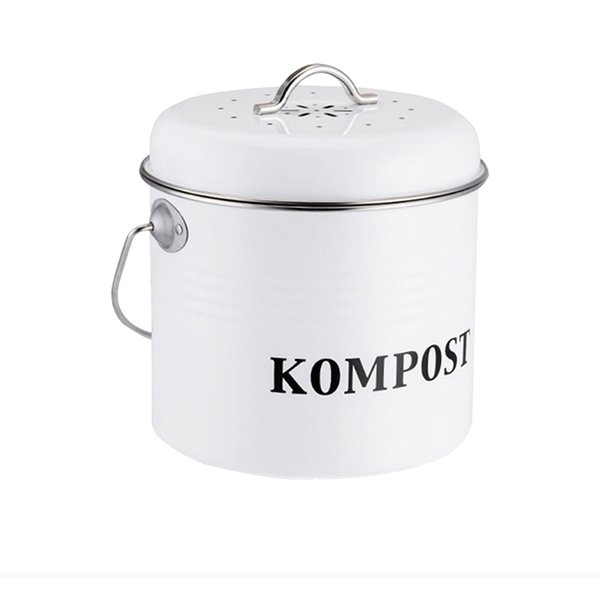 Kitchen Compost Bin Organic Homemade Trash Can Melons Leaves Outdoor Countertop Iron Round Charcoal Filter Bucket