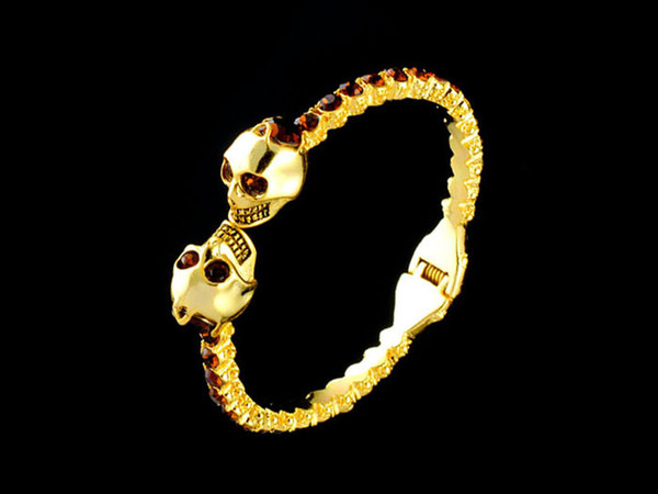 Skull Bracelet Bangle Antique Silver/Gold Color Inlaid with Rhinestone Pearl Bracelet Vintage Punk Jewelry