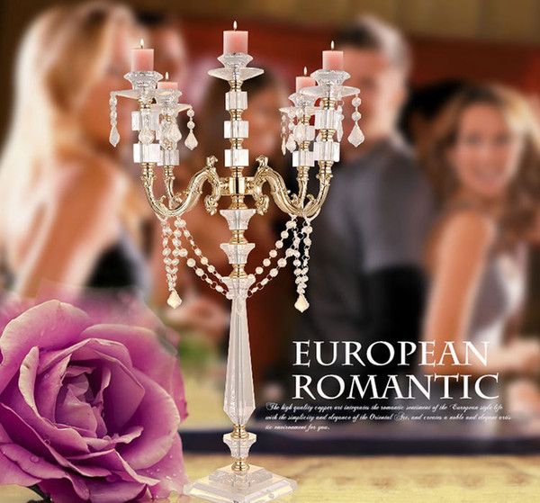 """wholesale hot Acrylic Candle Holders 5-arms Candelabras With Crystal Pendants 77CM/30"""" Height Elegant Wedding Centerpiece"""