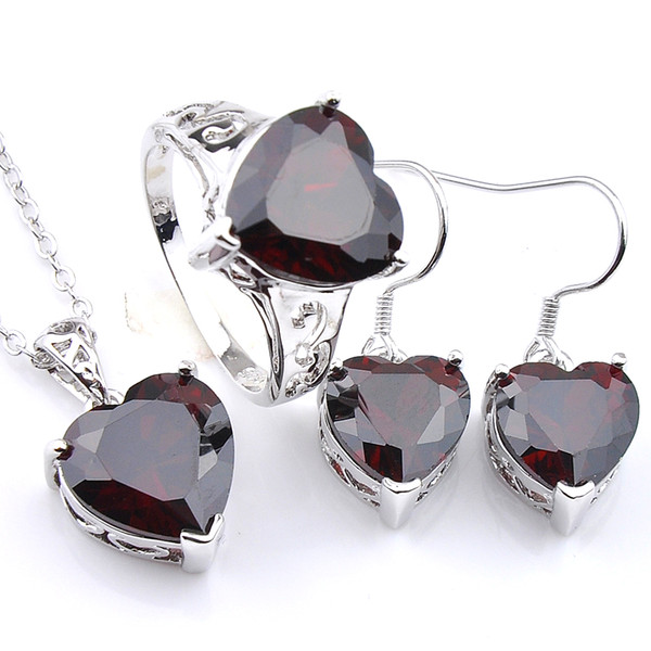 Luckyshine New Red Heart Jewelry Set For Women Crystal Cubic Zirconia Gems Sliver Pendants Earrings Rings Holiday Gift Set