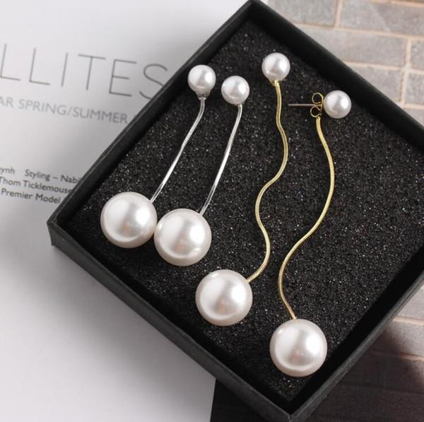 8mm + 16mm Pearl Earrings Double Side Big Pearl with Box Chain Long Tassel Statement Dangle Earring Silver Gold Earrings for Party Wedding