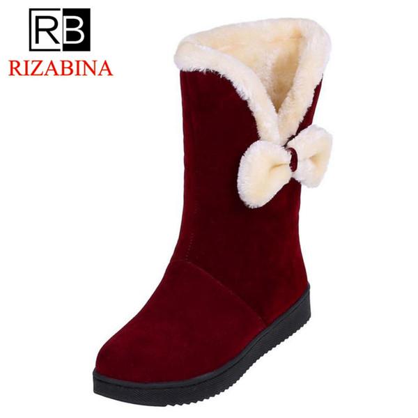 RizaBina Kadınlar Kar Boots Klasik Yuvarlak Burun Papyon Peluş Kürk Kısa Çizme Kış Temel Ayakkabı Kadınlar Ayakkabı Boyut 32-41