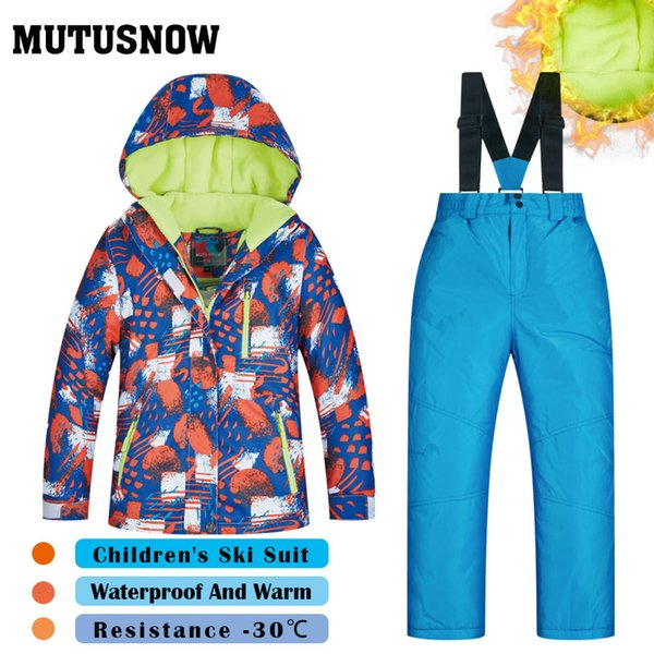 MUTUSNOW Ski Suit Boys Girls Children's Brands High Quality Skiwear Windproof Waterproof Snow Warm Child Winter Thick Snowboard Suit HXQ