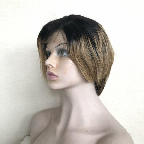 Straigt Pixie perruques courtes perruques Pixie 13 * 3 avant de lacet avant plumer les cheveux Ombre cheveux (# 1b / 27, # 1b / 30)