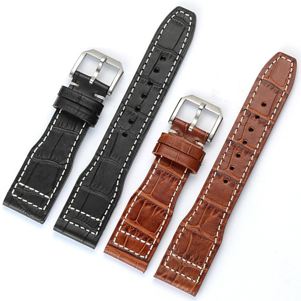 22mm Retro Calf Horse Leather for IWC Big Pilot Watch Man Watch Band Strap Watchband Bracelet Yellow Brown Black Man with Tools