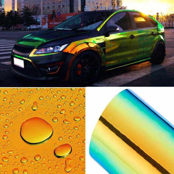Changement de couleur caméléon autocollants de voiture brillant couleur bricolage films de carrosserie de voiture vinyle autocollant de voiture film de libération d'air