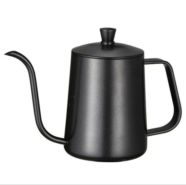 pot poinçon main support de montage en acier inoxydable pots de café avec couvercle goutte à goutte bec bouilloire café bouche à long col de cygne théière 600ml