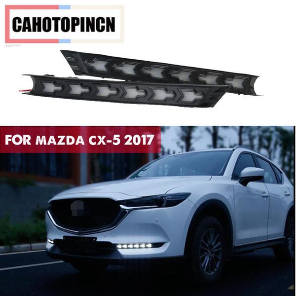 Estilo dinámico de señal de giro Relé Impermeable 12 V LED DRL DRL Luces de circulación diurnas para Mazda cx-5 cx5 cx5 2017 2017