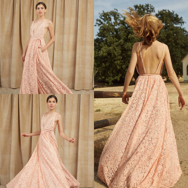 2019 Pink Bridesmaid Dresses Pants Jumpsuits V Neck Lace Backless Floor Length Formal Party Dress Evening Gowns Plus Size Vestido De Novia