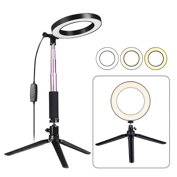 LED Light Ring avec trépied selfie bâton, 6 pouces Dimmable sol / Table Lamp pour Annulaire selfie, maquillage, Live Stream, Youtube, Vlog