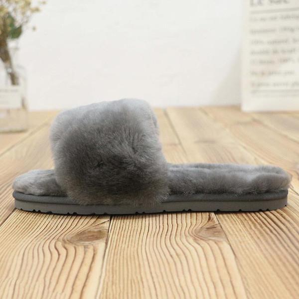 Boyutu 36-41 WGG 3492 Slaytlar Kış Lüks Tasarımcı Kırmızı Siyah gri Pembe Mor Koyun Kürk Marka Bayan Sıcak Sandalet Terlik Ev Çevirme