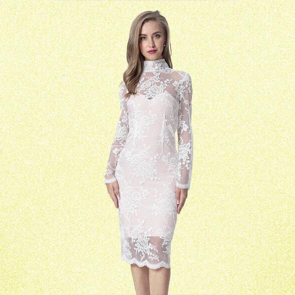 2018 Fashion Evening Party Bandage Dresses Sexy Club Lace Women Dress Long Sleeve White Elegant White Autumn Clothes Y190410