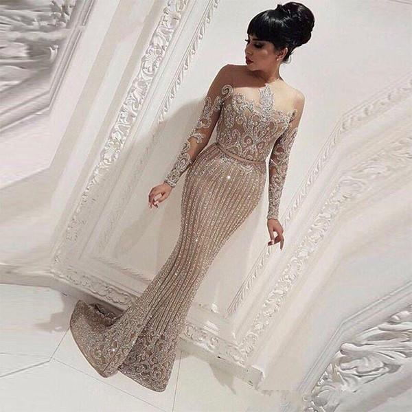 À manches longues Or paillettes sirène arabe Dubai femme robes de soirée 2019 robe de bal robes de soirée, plus la taille Abendkleider robe de soirée