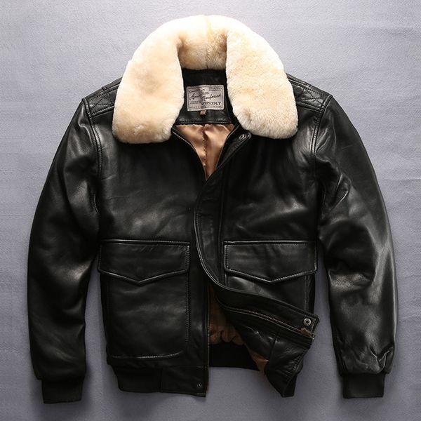 best selling 19AW Avirex Fly Air Force Flight Pilot Jacket Fur Collar Genuine Leather Sheepskin Coat Winter Bomber Mens Designer Winter JacketsT190928