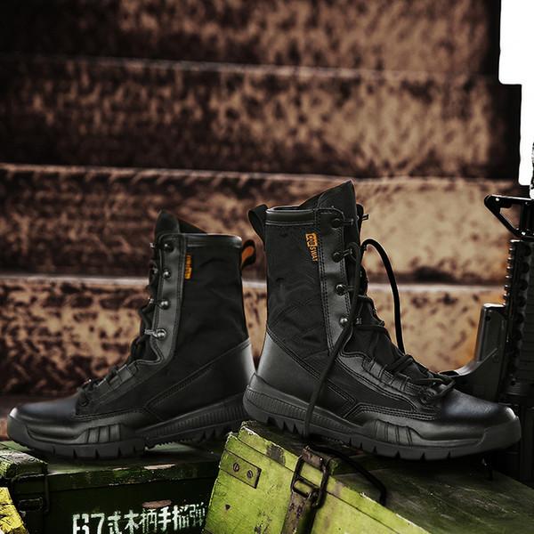 2019 primavera / outono dos homens bota militar preto de lona respirável sapatos de deserto ultra leve Mens Combat Tornozelo Botas Do Exército Tático