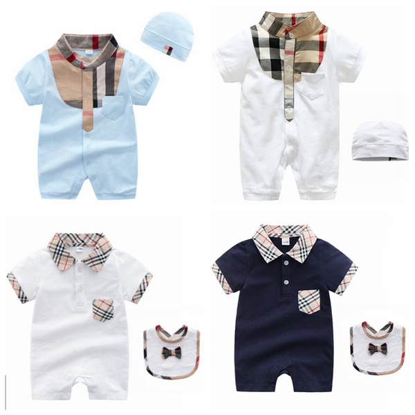 Moda para niños bebés Ropa Conjuntos Diseñador Ropa para niños Boutiques Mamelucos y gorritas tejidas en ropa de algodón Babys para la venta