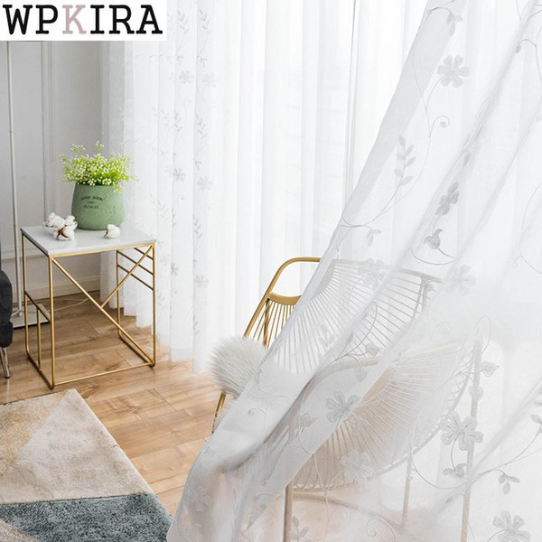 Pastoral Embroidered White Voile For Living Room Window Screening Curtains for Bedroom Tulle Window Curtains/Panels S101&30