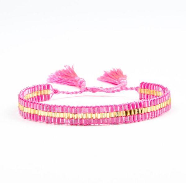 MIYUKI Japan Tube Beads Unique Design HandWoven Adjustable Waxed Thread Tassel Bracelet For Woman friendship Gift bracelet SL058